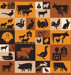 seamless pattern various farm animals on dark vector image