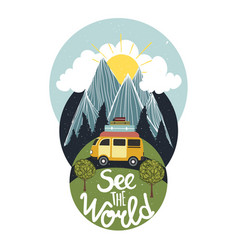 See world vintage inspirational vector