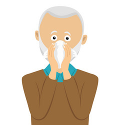 Senior man sneezing into handkerchief vector