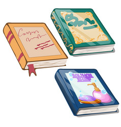 set books with colorful covers isolated on vector image