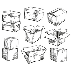 Set of doodle cardboard boxes vector