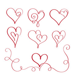 Set of red flourish calligraphy vintage hearts vector