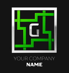 silver letter g logo symbol in the square maze vector image
