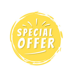 special offer inscription on yellow painted spot vector image