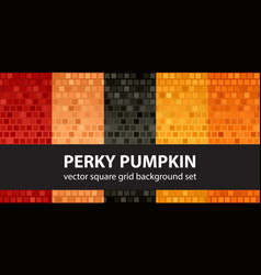 Square pattern set perky pumpkin seamless tile vector