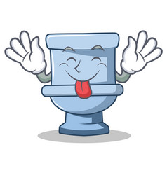 Tongue out toilet character cartoon style vector