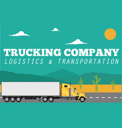 trucking company banner with container truck vector image