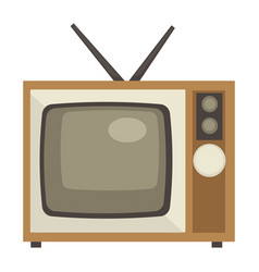 Tv set with antenna isolated object 1960s style vector