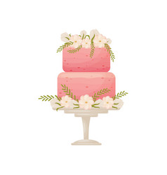 Two-tier pink cake on a white stand with a leg vector