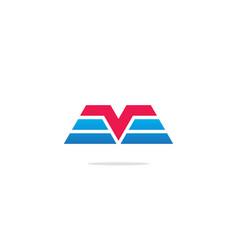 V initial shape line company logo vector
