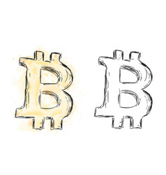 watercolor bitcoin drawing vector image