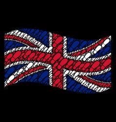 waving british flag mosaic of boot footprint items vector image