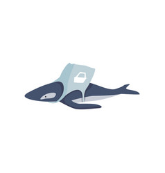 whale entangled in a bag made of plastic global vector image