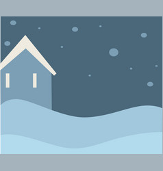 winter landscape with lone house and snowfall vector image