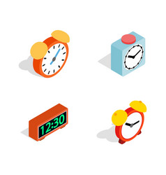 alarm clock icon set isometric style vector image vector image