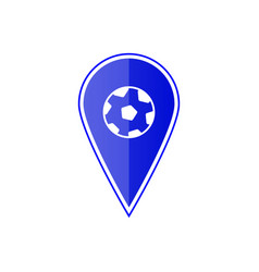 blue map pointer with soccer ball vector image