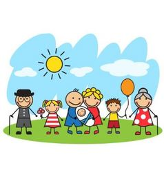 Cartoon big family standing on the lawn vector image vector image