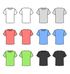 colored t-shirts set on white background vector image