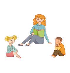 kindergarten kids listening to teacher reading vector image