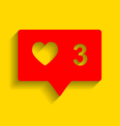 like and comment sign red icon with soft vector image vector image