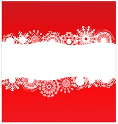 Red background with white snowflakes vector image vector image