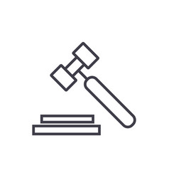 auction hammer line icon sign vector image vector image