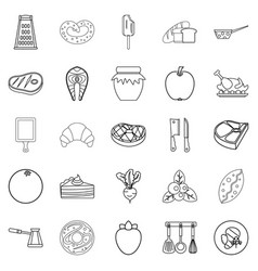 fish steak icons set outline style vector image