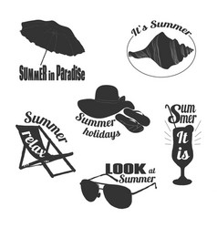 hand drawn summer emblems set vector image