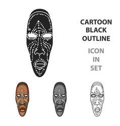 african mask icon in cartoon style isolated on vector image