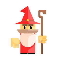 cute cartoon gnome in a red hat with a staff in vector image vector image