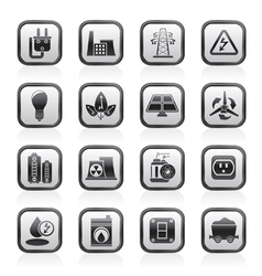energy and electricity icons vector image vector image