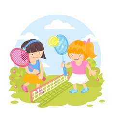 Girls playing tennis vector image