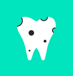 holey white tooth icon vector image