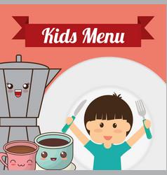 kids menu boy fork knife coffee chocolate vector image