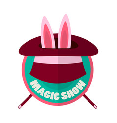 magic show hat with rabbit ears isolated on white vector image