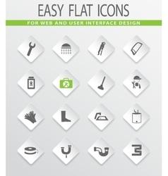 Plumbing related icons set vector image
