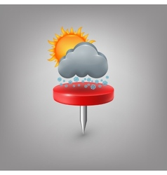 Red pin icon weather Cloud sun snow vector image vector image