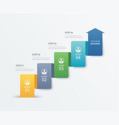 4 data step infographics timeline tab paper index vector image