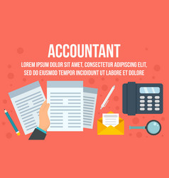 Accountant business concept banner flat style vector