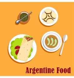 Argentine lunch and dessert food vector image