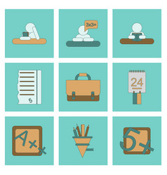 Assembly flat icons school supplies vector
