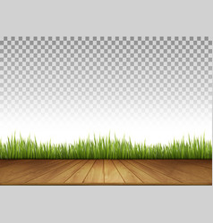 Background with Wooden Floor and Green Grass A vector image