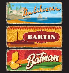 Balikesir bartin batman turkey provinces plates vector