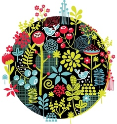 Birds and flowers print vector image