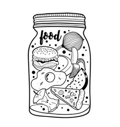 black and white jar with fast food and fruits vector image
