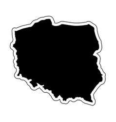 black silhouette of the country poland with the vector image