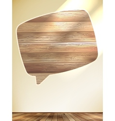 Blank Speech Bubble on wood background EPS10 vector image