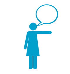Blue silhouette of pictogram woman pointing with vector