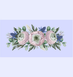 bouquet with delicate ranunculus eucalyptus vector image