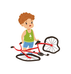 boy feeling unhappy with his bike broken vector image